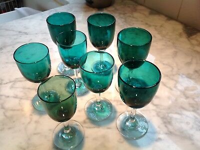 Antique 1800's Peacock Teal Blue Green Blown Wine Cordial Glasses 8 Total