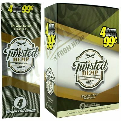 Twisted Wraps Plain Jane - Full Box 15 PACKS - Natural Rolling Papers