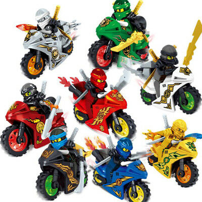 UKstock 8Pcs Ninjago Motorcycle Set Minifigures Ninja Mini Figures Blocks Toys