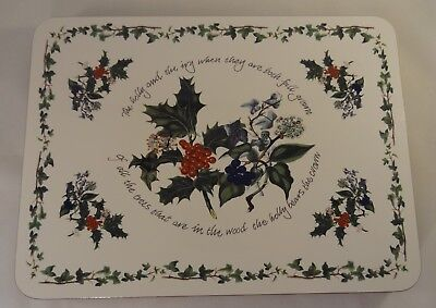 Portmeirion The Holly & The Ivy Set Of 6 Oblong 29cm Cork Placemats