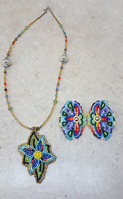 Hand Crafted Cut Beaded Native American Indian Flower Necklace And Earstuds Set