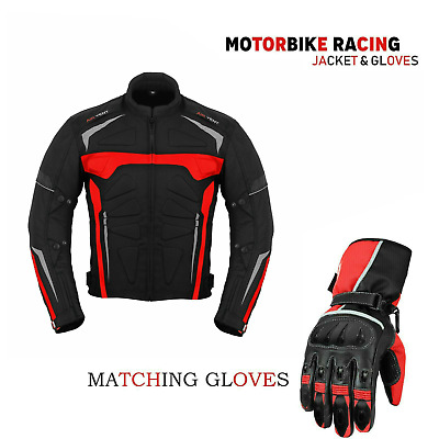 Men's Motorbike Motorcycle Waterproof Cordura Jacket Coat Leather Gloves Armour