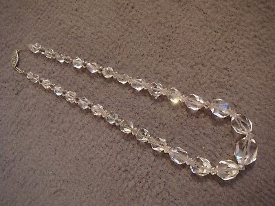 vintage/antique CUT GLASS clear graduated beads necklace