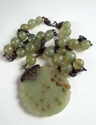 Qing dynasty Mandarin court necklace- Exquisite pale jade & silver. Large size
