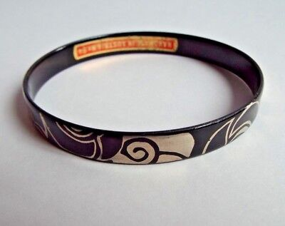 Vintage Austrian enamel bangle- Michaela Frey- Silver on black- Stylish design