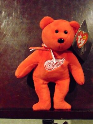 "2018 NEW NHL Detroit Red Wings  8"" Ty Beanie Baby Hockey Bear"