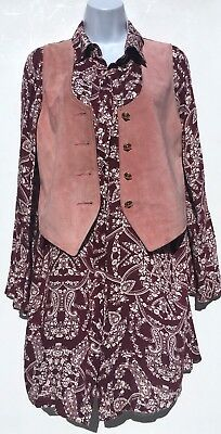 Vintage 90s Dark Red Burgundy Beige Paisley Flared Sleeve Shirt Dress 10 12 14 M