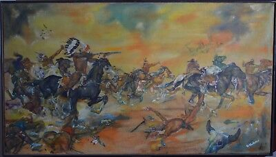 """Original 1960s Signed Oil Painting - Depicting Custer's Last Stand 28.5"""" x 49.5"""""""