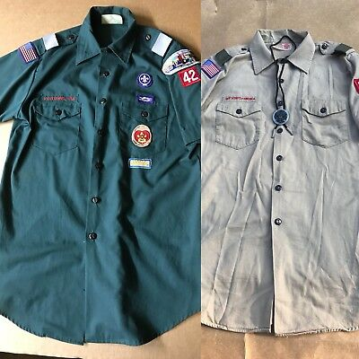 2 Boy Scouts of America BSA Venturing Green  Shirt W/Patches - M/L W/ Medallion
