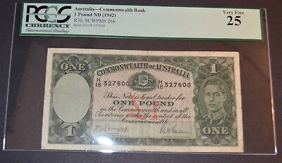 PCGS Graded Australia- Commonwealth Bank 1 Pound ND (1942) Banknote 25 Very Fine