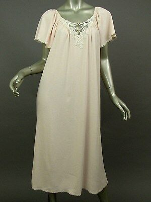 Vintage Lucie Ann II Pink Nightgown Angel Wing Sleeves Lace Trim Stretch USA