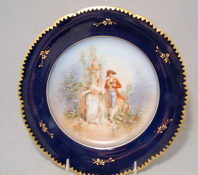 Antique Limoges French Porcelain Cobalt Blue Plate Young Josephine & Napoleon