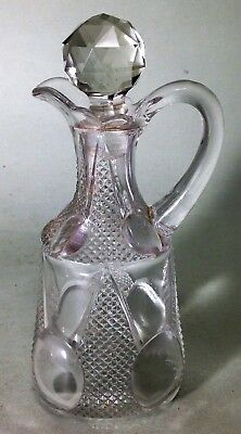 Antique Victorian hand made glass Condiment bottle with facetted crystal stopper
