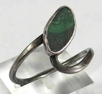 Antique Art Nouveau Deco Sterling Silver&Natural Malachite Gemstone Ring Jewelry