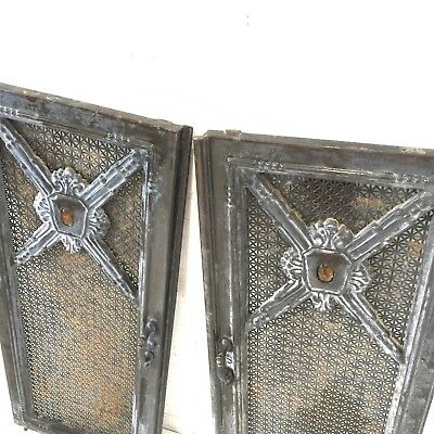 Pair Antique Salvaged Stove Doors Enameled Cast Iron Vtg Moore Brothers Co Old