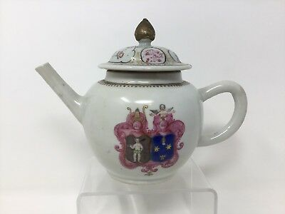 17th Century Porcelain Export Penny House Nude Figures Seal Crest Teapot