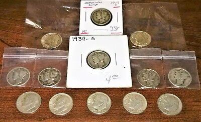 Mixed Dime Lot- 5 Silver Roosevelt; 6 Mercury; 2 Uncirc. Silver Roosevelt Proof