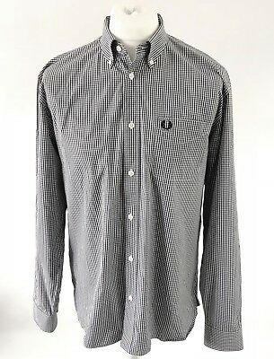 Fred Perry Black & White Gingham Check Long Sleeve Button Down Casual Shirt, L