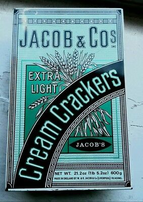 Vintage Jacob & Cos Extra Light Cream Crackers Tin from England Great Condition