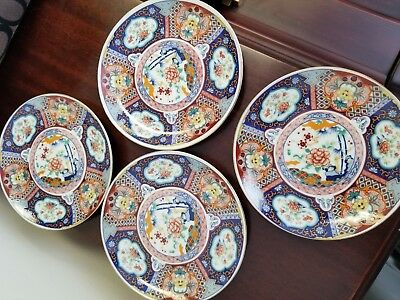 Imari Ware Plates, Bowl, Teapot and Urn Matching pattern set