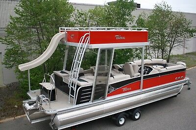 Scratch and dent pontoon boat with 150 hp and trailer---New 27 ft pontoon boat