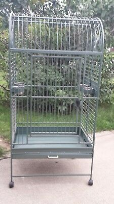 Heavy Duty LARGE Vintage Wrought Iron Parrot Amazon Cockatoo Green BIRD Cage