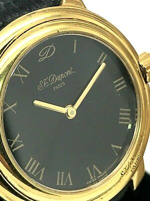 ST. Dupont Paris Vintage Swiss Women's Watch Leather Band Black Dial Roman Used