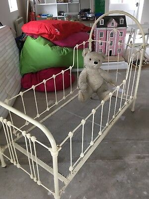 Antique French Painted Iron Folding Child's Cot Day Bed, fully restored.