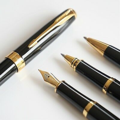 BAOER #388 Deluxe Black Ballpoint/Rollerball/Fountain Pen Set Arrow F Nib GT
