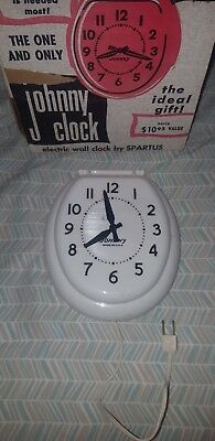 Vintage Spartus JOHNNY Bathroom Toilet Wall Clock, White, 1950s Plugs In! Works