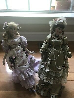Set Of 2 Large  Porcelain Dolls Victorian Lady  with Display Stand