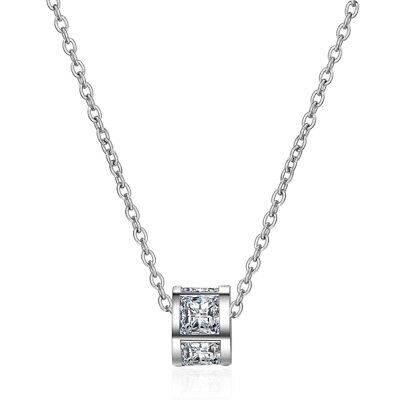 NEW Exquisite 925 Sterling Silver Natural Zircon Pendant Necklace Women Jewelry