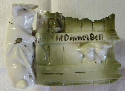 "German Pink Pigs Figurine - Mother & Babies, Green Fence, ""The Dinner Bell"""