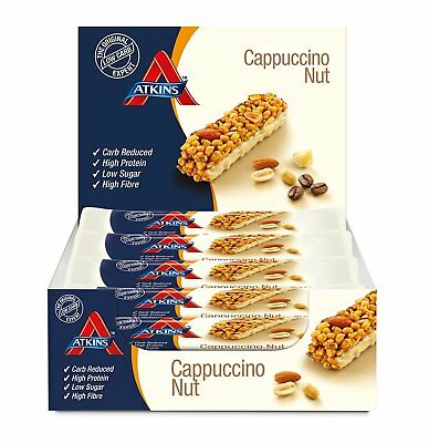 Low Carb Snack - Atkins Cappuccino Nut -  High Protein Snack Bar 15 x 30g