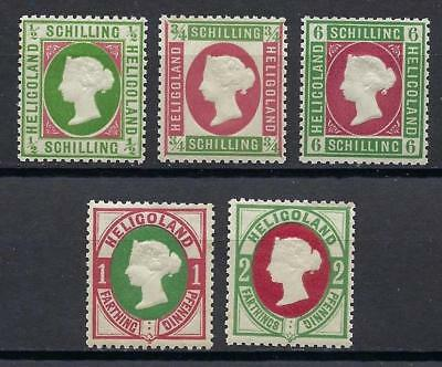 Heligoland 1868-75 Victoria 5 stamps Germany MNH Reprint