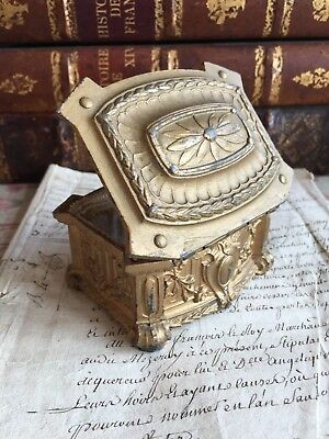 Exquisite Antique French Jewelry Padded Casket Trinket Ormulu Box Bronze Patina