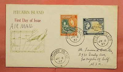 1957 Pitcairn Islands Fdc Airmail To Usa Nice Cachet + Letter