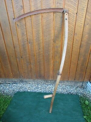 "Vintage Antique 55"" Long Scythe Hay Grain Sickle Farm Tool Blade is 25"" Long"