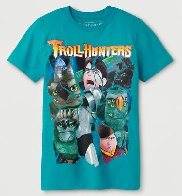 Boys TrollHunters Short Sleeve Graphic T-Shirt Turquoise Size Small (3591)