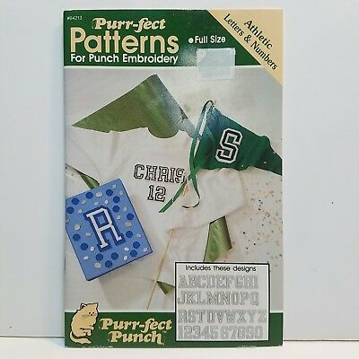 Purr-fect Punch Embrodiery School Athletic Letters & Numbers Pattern Leaf Book