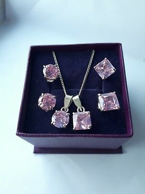 Sterling Silver 925 2x Earring Necklace Set Pink present box birthday 2 pendants