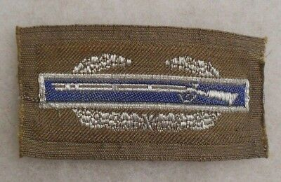 Wwii Theater Made Tinsel Bullion Combat Infantry Badge (Cib) On Thin Od Wool