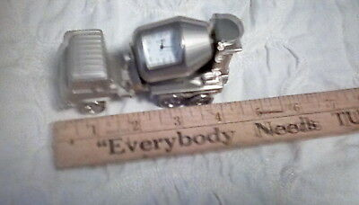 Collectable   Mini  Clock,  Silver Cement Mixer   , truck w/ movable parts