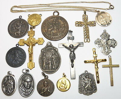 LOT of 16 Vintage Religious Catholic Medals & Crosses 5 ARE STERLING SILVER!