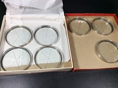 7 Vintage Webster Sterling Silver Coasters with Glass Etched Star