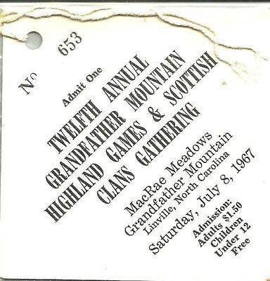 Grandfather Mtn 1967 SCOTTISH GAMES Ticket & Rural Hill Sheep Dog Trials Poster