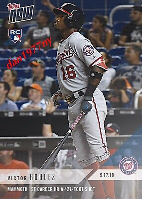 2018 Topps Now Card #738-Victor Robles 1St Career Homerun (Hr) Rookie Card (Rc)