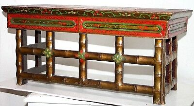 Antique 1800's Polychrome Painted Carved Wood Chinese Folding Travel Alter Table