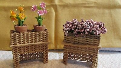 """Dollhouse Miniature 1"""" Sc.Vtg. Pair of wicker planters signed/dated LKT '91"""