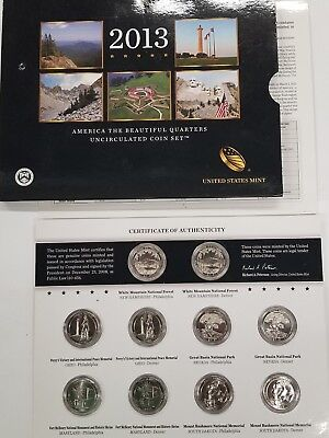 2013 P&D America the Beautiful National Park UNC Quarter 10 Coin Set (inv1)